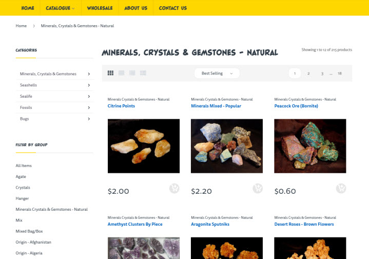 The 'minerals, crystals & gemstones - natural' category page, default sort to best selling, filters on the left, and other features